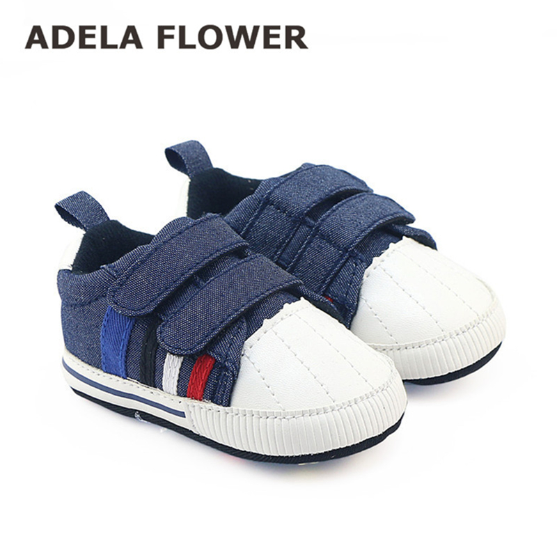 906af9ff99d1 2016 Autumn Baby Boy Shoes Sports Toddler First Walkers Navy Denim Jeans  Double Touch Strap Pram Shoes Girls Casual Sneakers
