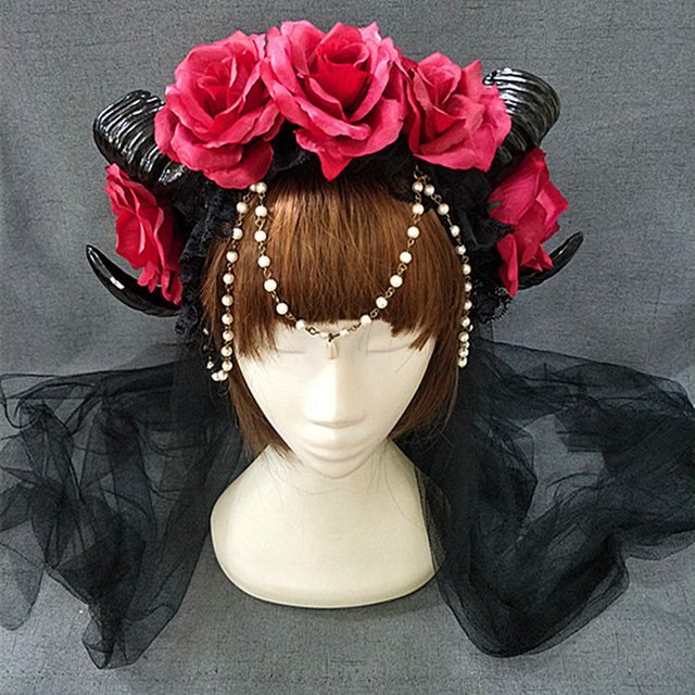 New Halloween Lolita Cosplay The Veil Demon Evil Gothic Sheep horn Flowers Headband Hairband Accessory Headwear Prop 4