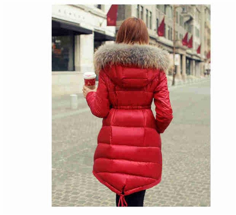 Abrigo Long black Manteau Slim Veste blue En Parka Élégant Capuche Doudoune D'hiver Fourrure St352 À Coréen Mujer Femme Red 2018 Uq04wZn