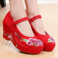 Women Shoes Platform Heels Chinese Style Retro Wedding Shoes Red Bottom High Heels Cotton Fabric Wedges Buckle Strap TaoJinNiang