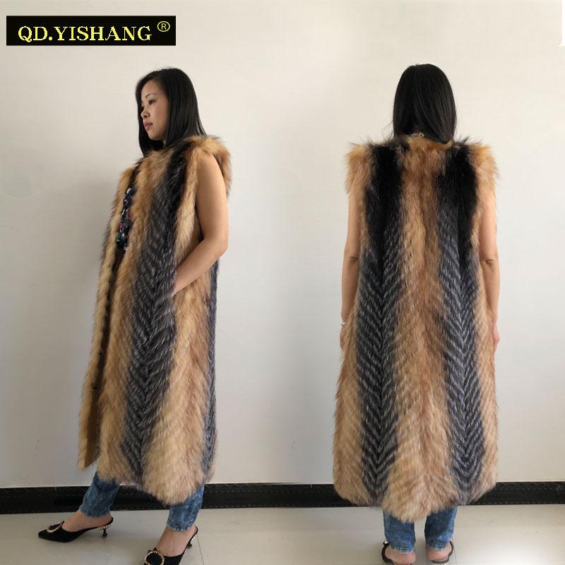 Silver Fox Vest Real Fox Fur Vest Long Ladies Winter Fox Fur Vest Fashion Keep Warm Spring And Autumn QD.YISHANG