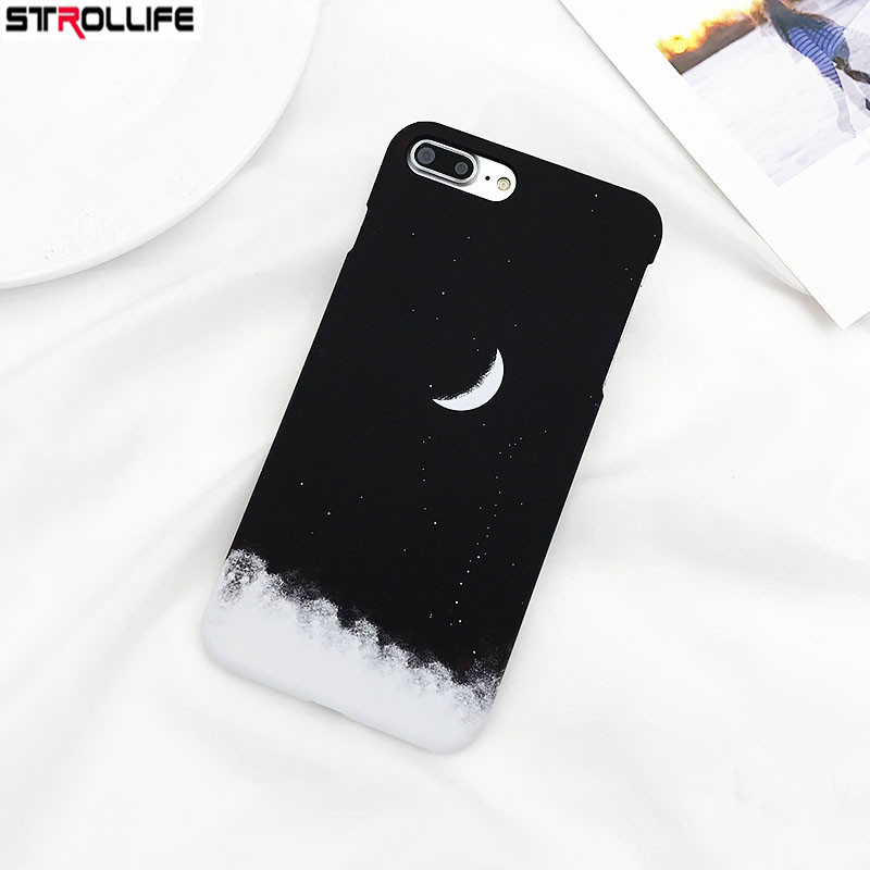 Strollife Fashion Gradient Starry Sky Black Phone Cases For Iphone6 Case Cartoon Moon Hard Pc Back Cover For Iphone 6s 4.7coque Fitted Cases Phone Bags & Cases
