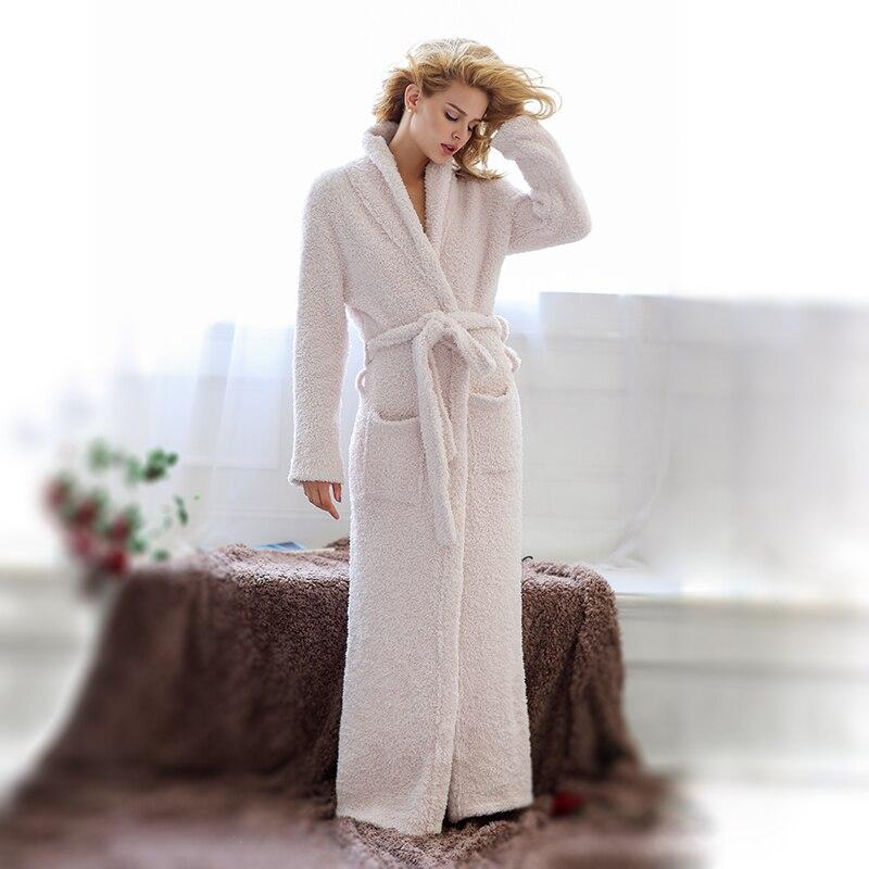 Unisex Men And Women Microfiber Cozy Knit Ultra Long Full Length Shawl Collar Bathrobe Robe Sleepwear Lounge Wear