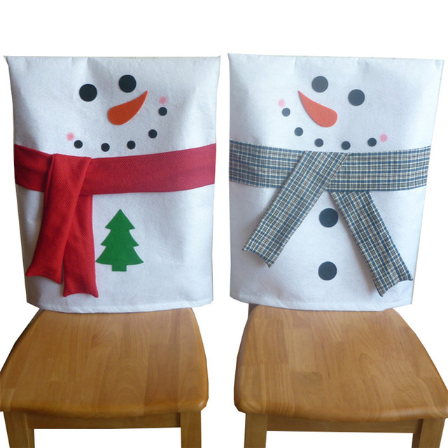 2 Pcs Set Christmas Chair Covers Snowman Back Cover Decoration Dining Room Home