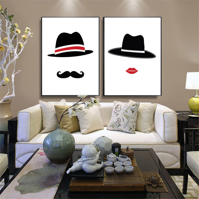 HAOCHU Mr Mrs Hat Painting Cap Watercolor Backdrop Home Decor Wall Art  Picture Poster Canvas Sitting