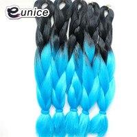 カネカロンジャンボ三つ編みツートンカラー24 '100グラムオンブル合成編みヘアーエクステンション用かぎ針編み三つ編み3パックからユーニ