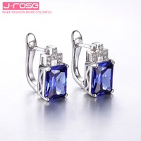 Jrose Luxury Blue Tanzanite Jewelry 925 Sterling Silver Earrings Clip Brand Hign Quality Promised Ear Cuffs