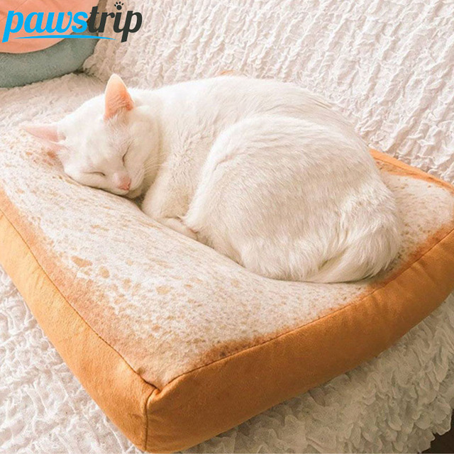 2017 New Design Bread Toast Cat Bed Mat Soft Fleece Puppy Cushion Detachable Wash Small Dog Bed For Chihuahua 37*37*6.5cm