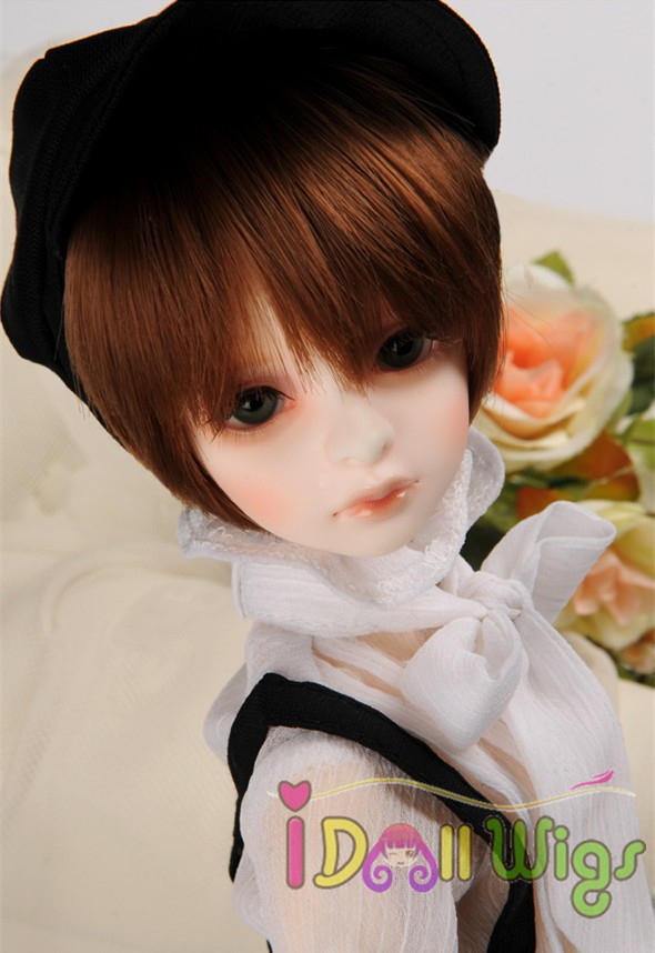 цены Free shipping heat resistant Synthetic short brown BJD doll boy hair wigs bjd 1/3 1/4 1/6 1/8 for Choice on sale