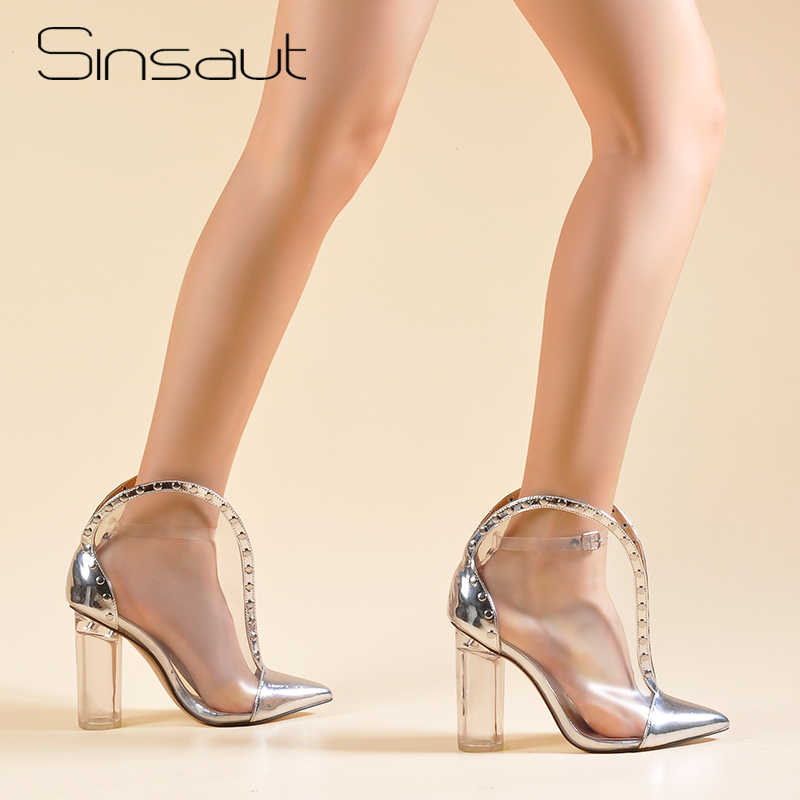 Sinsaut Shoes Women Round Clear Heels Ankle Boots High Heels Clear Boots Transparent Shoes Sexy Hot