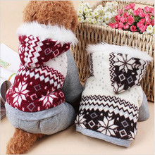 Dog Clothes Soft Snowflake Christmas Very Thick Four Feet Leisure Parkas Jumpsuits Winter Clothes For Dogs Free Shipping-B