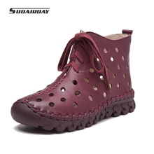 2017 Mujeres de La Manera Cortó Botas de Verano Las Mujeres Ocasionales Mocasines Zapatos de Las Mujeres Botas Planas Zapatos de Las Mujeres Hechas A Mano de Cuero Genuino