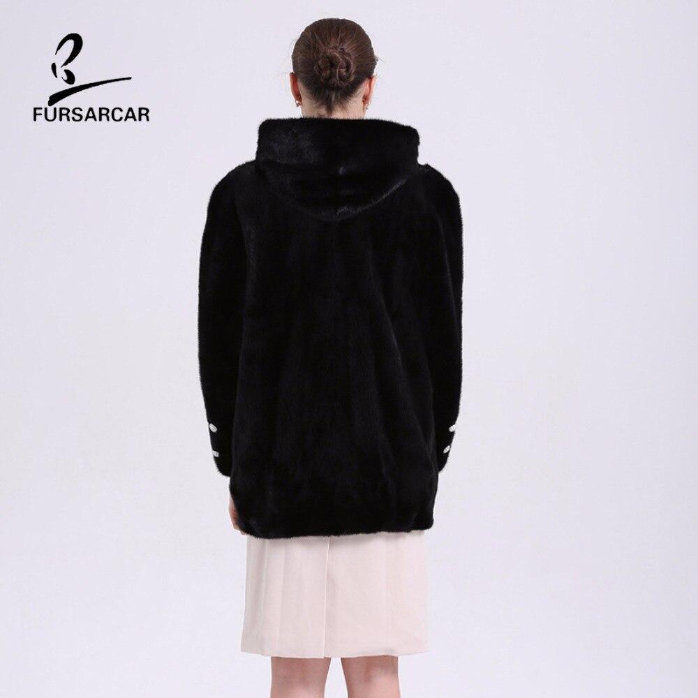 Nyata Natural Mink Fur Musim Dingin Coat Dengan Hooded Untuk Wanita - Pakaian Wanita - Foto 6