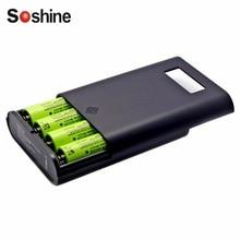 E3S Soshine Cargador Pantalla LCD Banco de la Energía de Baterías Reemplazables Profesional Para 4 Unidades 18650 Baterías Negro de Alta Calidad!