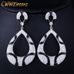 CWWZircons Sparkling Cubic Zirconia Paved Black Snake Print Statement Big Drop Earrings for Women Party Dress Accessories CZ456