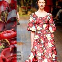 Tulle de soie imprimée tissu d'été fruits tissu imprime robe soie mousseline de soie tissu en gros tissu de soie tissu minky matériel