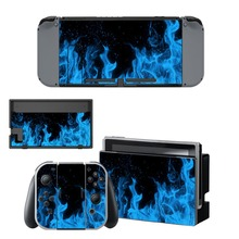 Nintendo Switch Vinyl Skins Sticker For Nintendo Switch Console and Controller Skin Set – For Blue Fire Devils