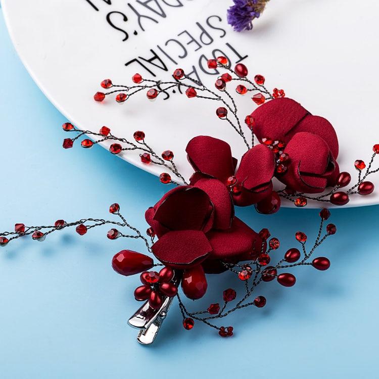 81eeb2d9b456 Dower me Handmade Burgundy Floral Hair Clip Bridal Rhinestone Hair Comb  Accessories Women Prom Headpiece Wedding Jewelry-in Hair Jewelry from  Jewelry ...