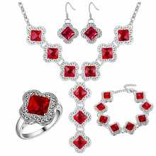 Thick silver plated jewelry set 925 jewelry wholesale wholesale red gem fashion set wholesale