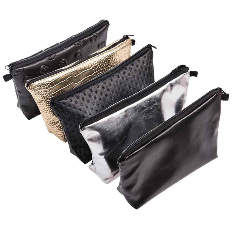 Europe America Style Cosmetic Bags Solid Color Laser PU Leather Waterproof Multi-Functional Clutches Change Purse Wash Kit Bag