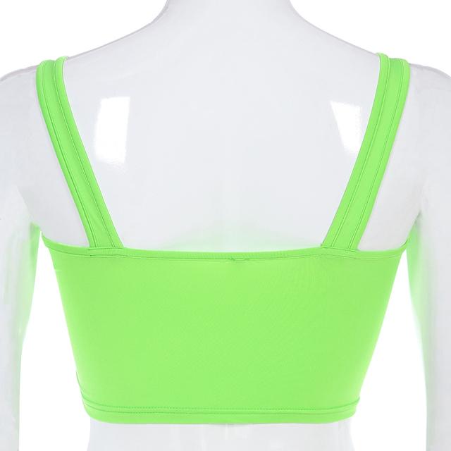 Waatfaak Fitness Button Stappy Sexy Neon Green Crop Tops mujer verano traje Streetwear camisetas sin mangas de punto para mujer 2019