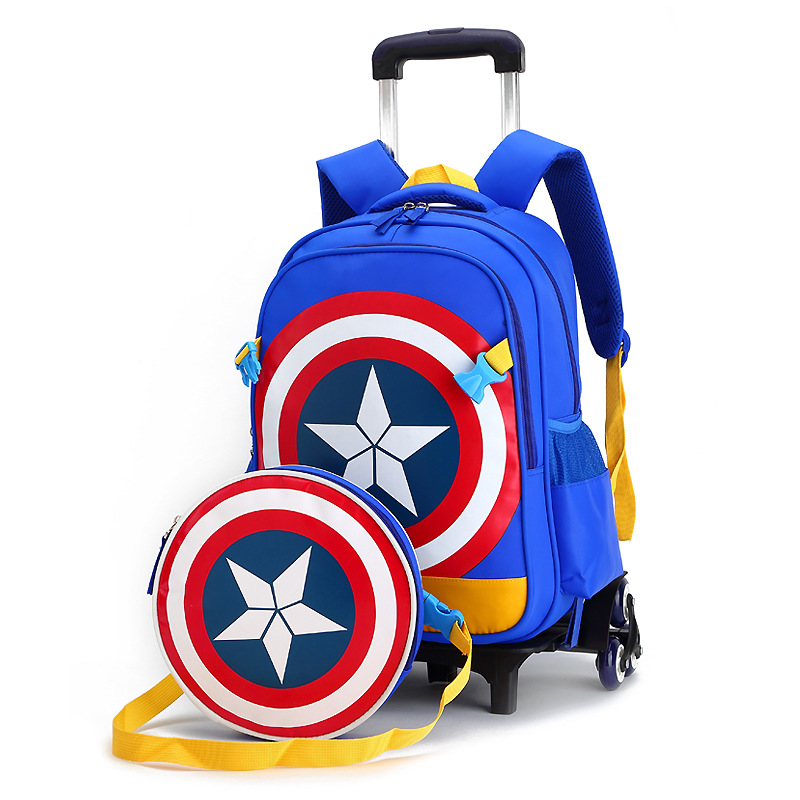 New Primary School Trolley Bags Captain America Children Anime Backpack Schoolbag Child with Wheels ;School bags with trolley new cartoon children backpacks blue color captain america backpack for kids children spiderman schoolbag