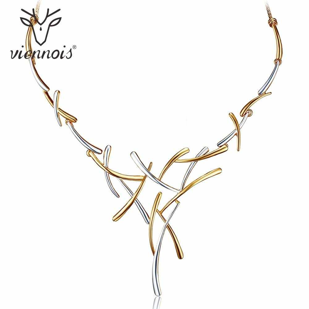 Viennois Silver/Gold/Gun Color Metallic Necklaces Cross Statement Punk Style Female Party Necklaces For Women Fashion Jewelry