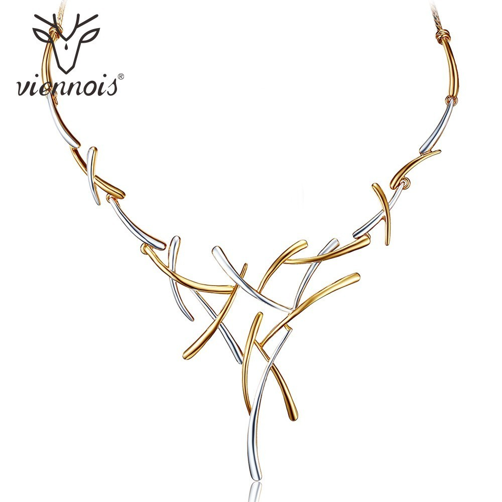 Viennois Silver/Gold/Gun Color Metallic Necklaces Cross Statement Necklaces for Women Punk Style Female Party Necklaces Women punk style pure color hollow out ring for women