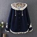 Осень и Зима женские пальто и куртки новый Японский стиль ажурные кружева шить свободно плюс размер шерстяные с капюшоном мыс пальто