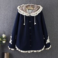 Autumn and Winter women's coats and jackets new Japanese style openwork lace stitching loose plus size woolen hooded cape coat