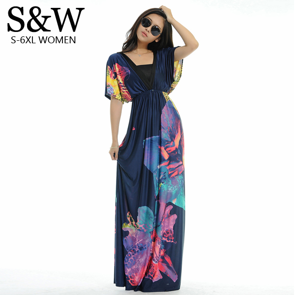 New Summer Women's <font><b>Sexy</b></font> V-Neck Backless Bat Sleeve Floral Print Long <font><b>Dress</b></font> Plus Size 4XL 5XL <font><b>6XL</b></font> Bohemia Beach Maxi <font><b>Dresses</b></font> image