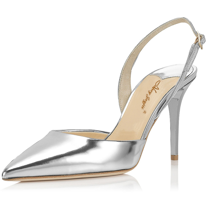 695051a370d1 Women Summer Gold Silver Sandals Mules Leather Pointed Toe High Heels 80MM  Casual Pumps Slingbacks Shoes Woman 43 Nancyjayjii -in Women s Pumps from  Shoes ...