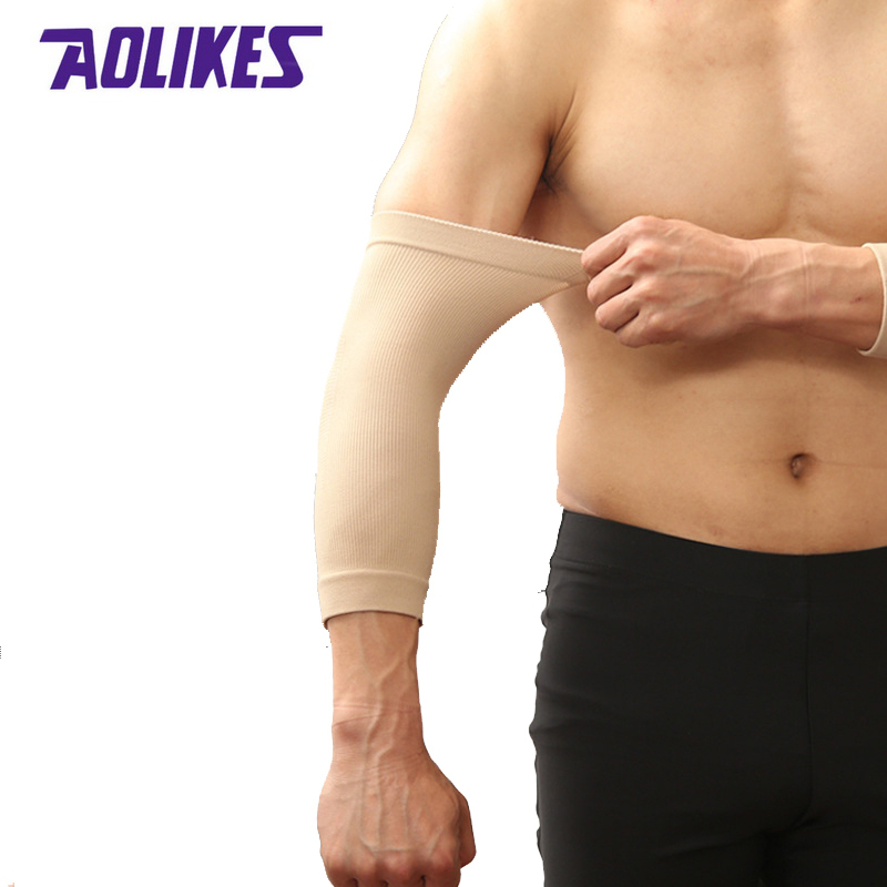 AOLIKES 2 Pcs/Pair Breathable Sport Arm Sleeves Men Women Basketball Tennis Volleyball Running Elbow Compression Protector