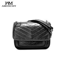 New Crinkled Vintage Women Messenger Bags Brand Designer Ladies Chain Crossbody V Pattern Artificial Leather Flap Handbags