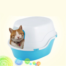 Enclosed Large Cat Toilet Closed In Health Supplies Plastic Cat Box Toilet Litter BedPan Sand Pets Basin WC Trays Nip DDM2384(China)