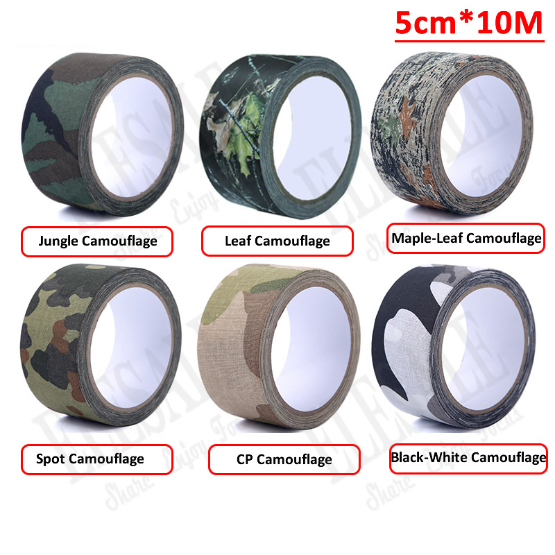1 Roll 5cm*10m Outdoor Camouflage Self-Adhesive Tape Hide Cover Anti-Skid Warning Tape For Outdoor Sports Hunting Fishing ttgtactical tactical self adhesive camouflage tape elastic camouflage cloth tape 150x30cm hunting rifle protective camo tape
