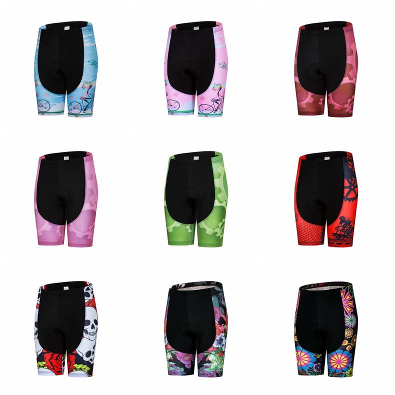 Women 4D Padded Cycling Shorts Shockproof MTB Bicycle Road Bike Ropa Ciclismo Tights Pink Skull Riding Blue Red Green