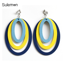Fashion Ellipse Wooden Earrings No Hole Ear Clip Colorful Multilayer Wood Clip Earrings Without Piercing Big Earring Jewelry 113