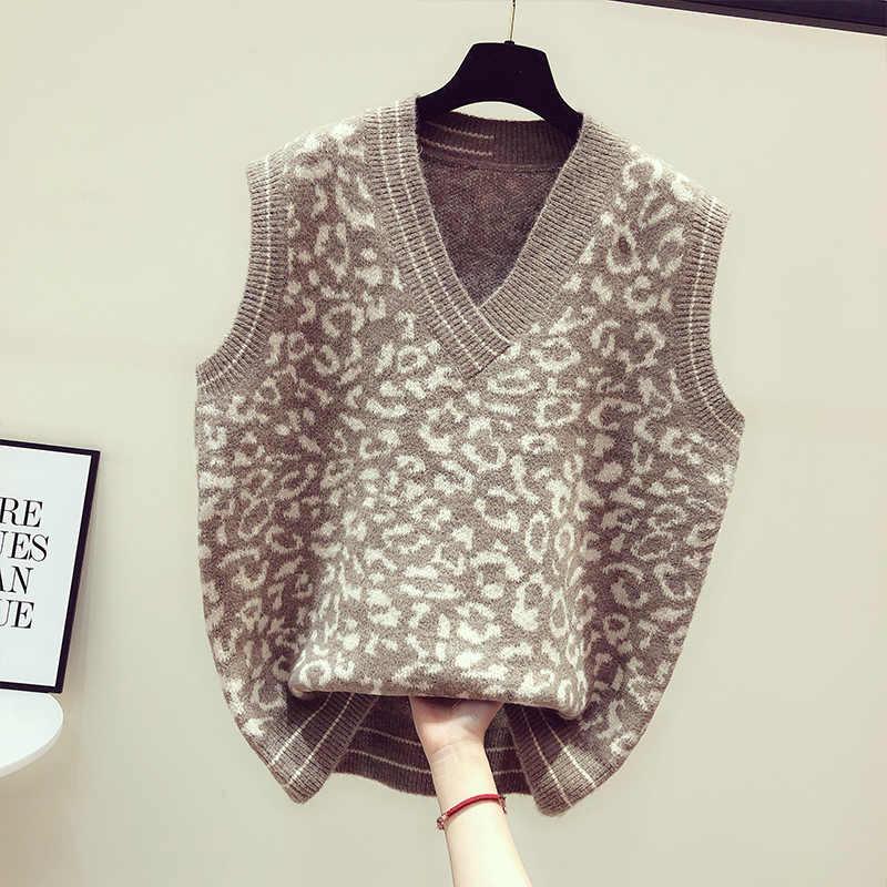 ヒョウ柄のセーターのベスト女性 V ネックニットベスト 2019 秋基本ノースリーブジャカードプルオーバーファッションセーター Mujer