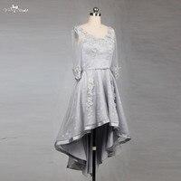 RSE780 серебряное кружево высокая низкая юбка с длинным рукавом платья невесты Короткие