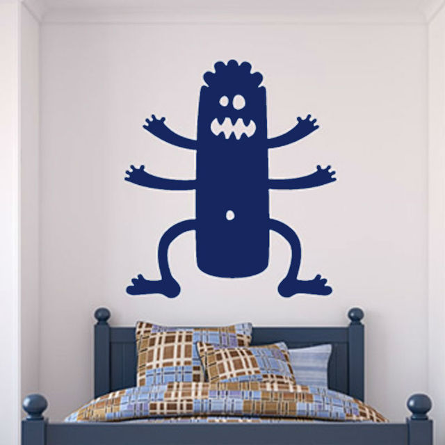 Six Legs Monster Boy Wall Stickers For Kids Rooms Vinyl Cartoon Removable  Wall Decal Bedroom Home