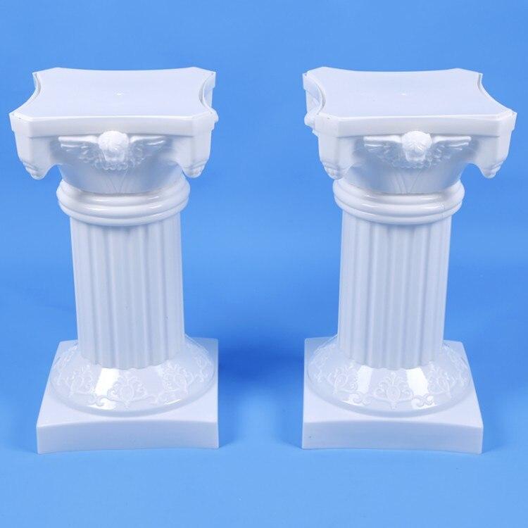 Colonnes romaines blanches de Style haut de gamme piliers en plastique route cité accessoires de mariage décorations de fond de mariage fournitures 2 pcs/lot - 2