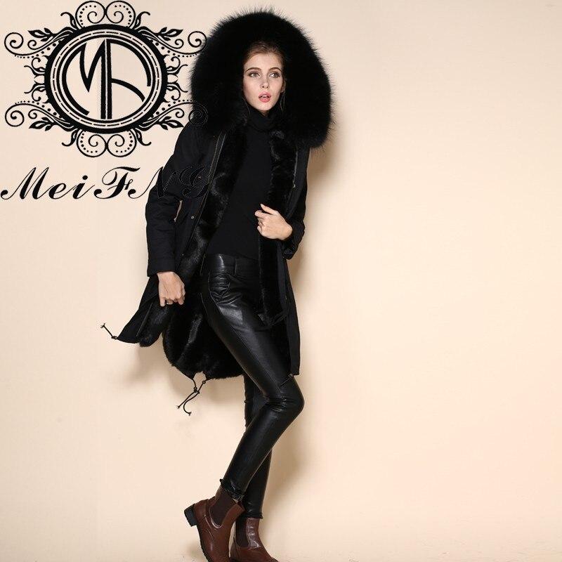 Длинные куртки черная Парка женская однотонная окрашенная с мехом енота собаки отделка с капюшоном Повседневная и модная Стильная черная куртка из искусственного меха