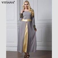 VITIANA 2017 Womens Long Islam Muslim Robe Dress Gray Patchwork Long Sleeve Vintage Chiffon Clothing Islamic