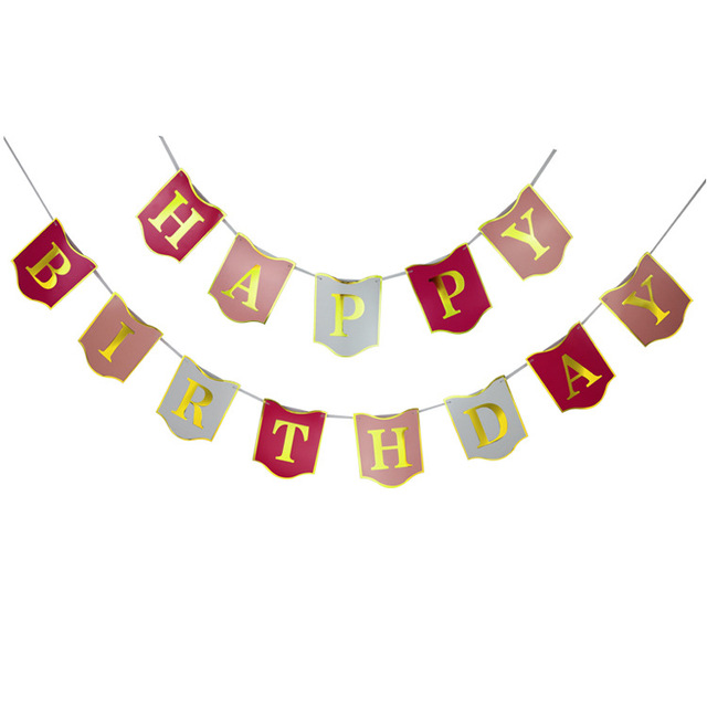 10pcs Happy Birthday Decorations Bunting Banner Garland with Gold ...