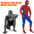 Incrível Preto Spandex Spiderman Traje Terno Roupas Menino Crianças Crianças Adulto Spiderman Zentai Costume Halloween Cosplay