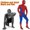 Increíble Spandex Traje Negro de Spiderman Ropa de Traje de Niño Niños Niños Adultos Spiderman Zentai Traje de Halloween Cosplay