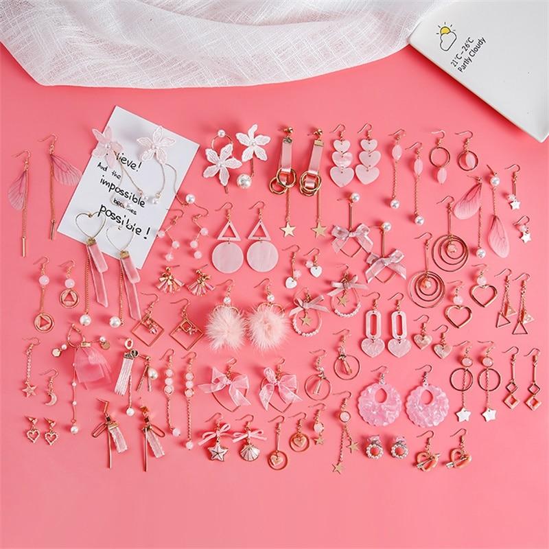 2019 Korean Version Of The Pink Long Tassel Acrylic Ladies Earrings Temperament Geometry Xingyue Love Acetic Acid Big Earrings
