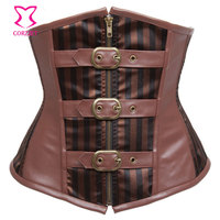 Brown Striped Satin Leather Underbust Corset Steampunk Clothing Women Waist Trainer With Zipper And Buckled Steel