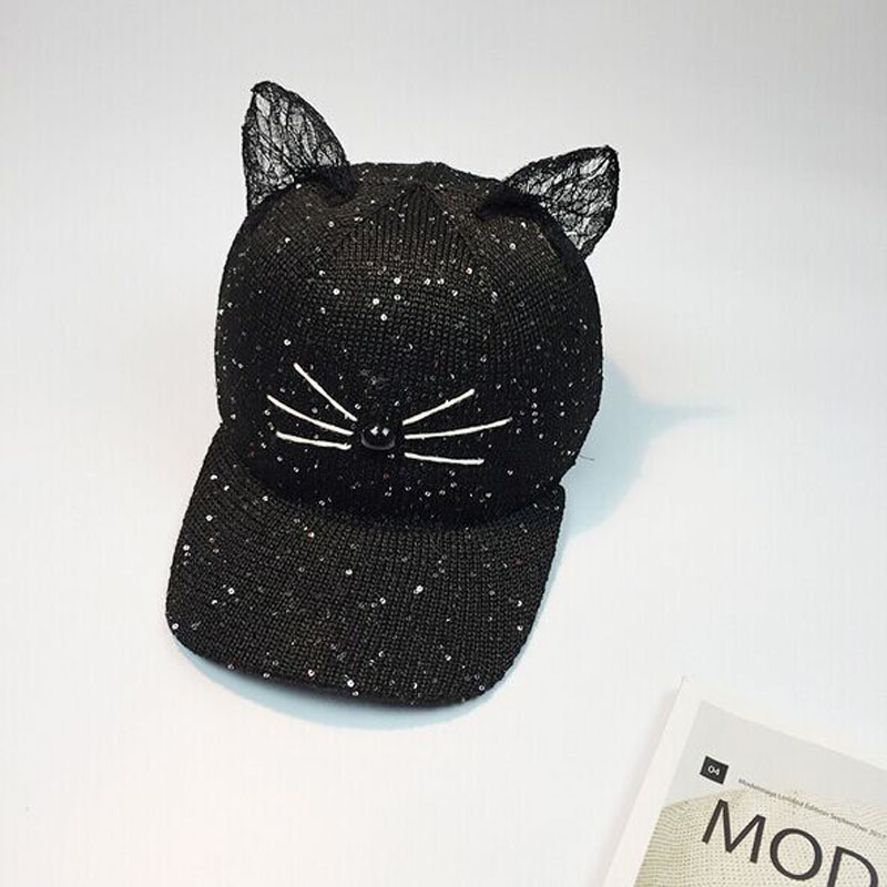 summer sequins cat ear women caps baseball cap with funny ears hats hip ebay black